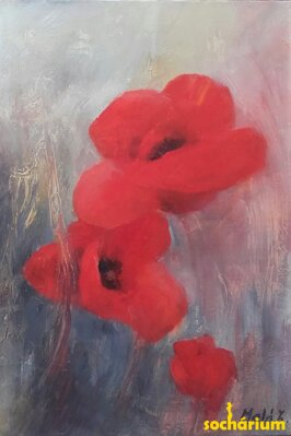 Poppies in gray